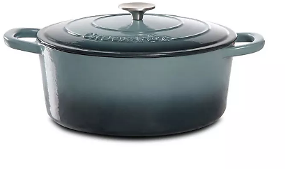 Crock-Pot 7 Quart Oval Enamel Cast Iron Covered Dutch Oven Slow Cooker, Gray