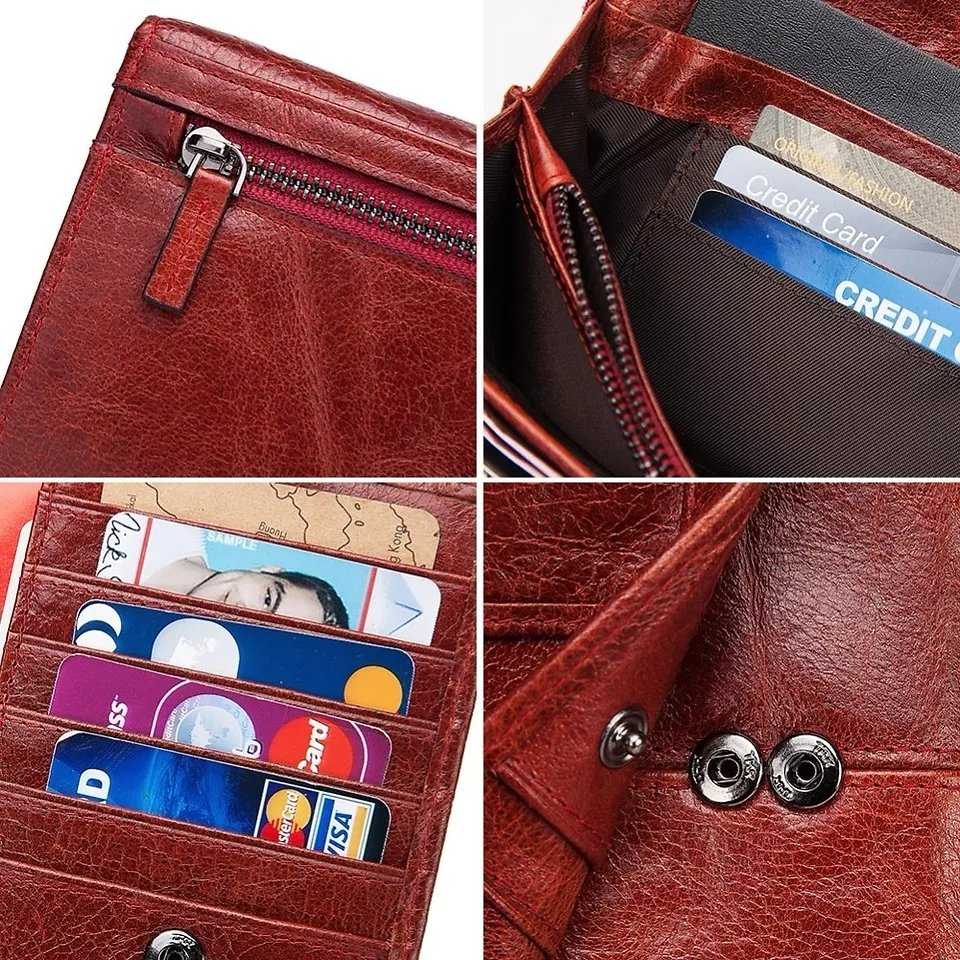 US $14.21 66%OFF | KAVIS Genuine Leather Women Clutch Wallet and Female Coin Purse Portomonee Clamp For Phone Bag Card Holder Handy Passport Walet