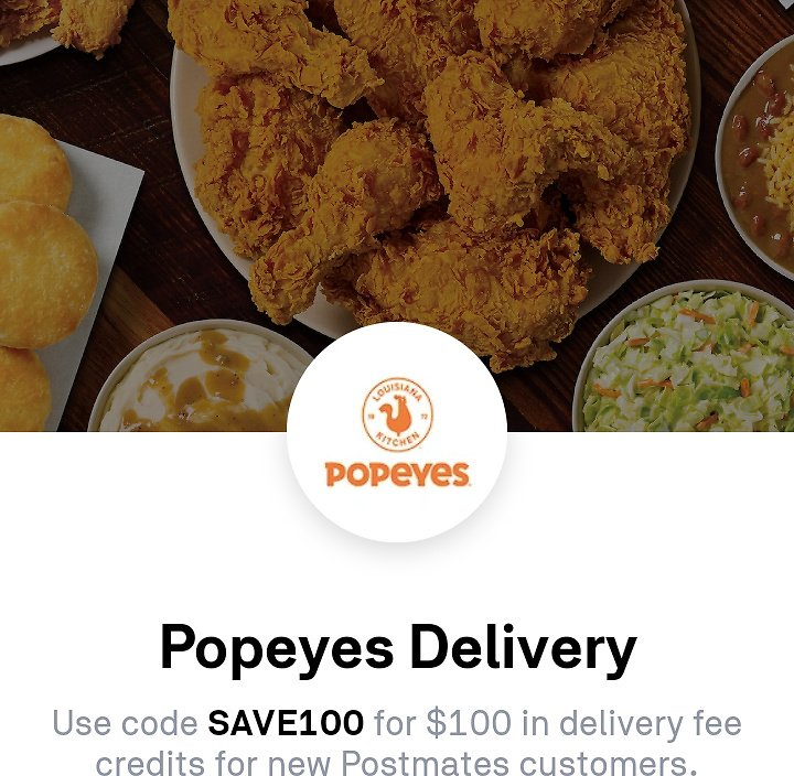 $100 Credit for Popeyes Delivery (New Users)