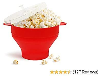 Microwave Popcorn Popper, HIPPIH Silicone Popcorn Maker, Collapsible Popcorn Bowl With Lid Handles for Homemade Popcorn-Light, Microwave Popcorn Maker for Home and Party, Red