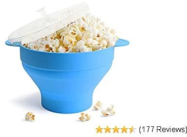 Microwave Popcorn Popper, HIPPIH Silicone Popcorn Maker, Collapsible Popcorn Bowl With Lid and Handles for Homemade Popcorn-Light, Microwave Popcorn Maker for Home and Party, Blue