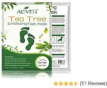 3 Pack Tea Tree Foot Peel Mask, Exfoliating Callus Remover, Soft Foot Removes Calluses and Dead Skin Cells, Repair Rough Heels-Make Your Feet Baby Soft for Women & Men (3pcs Tea Tree Foot Mask)
