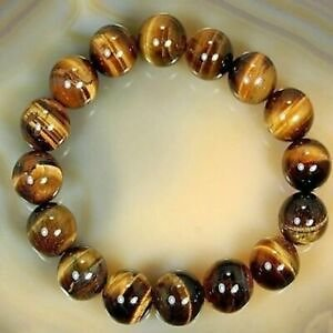 8mm Natural Natural Tiger's Eye Stone African Roar Round Beads Bracelet Bangle