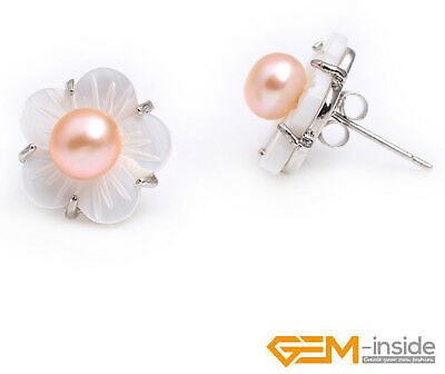 Natural 6-7mm Freshwater Pearl Beads White Shell Sliver Stud Earrings Jewelry