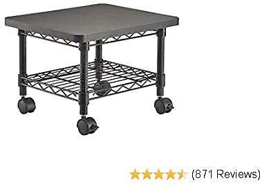 Safco Products Under Desk Printer/Fax Stand , Black Powder Coat Finish, Swivel Wheels for Mobility