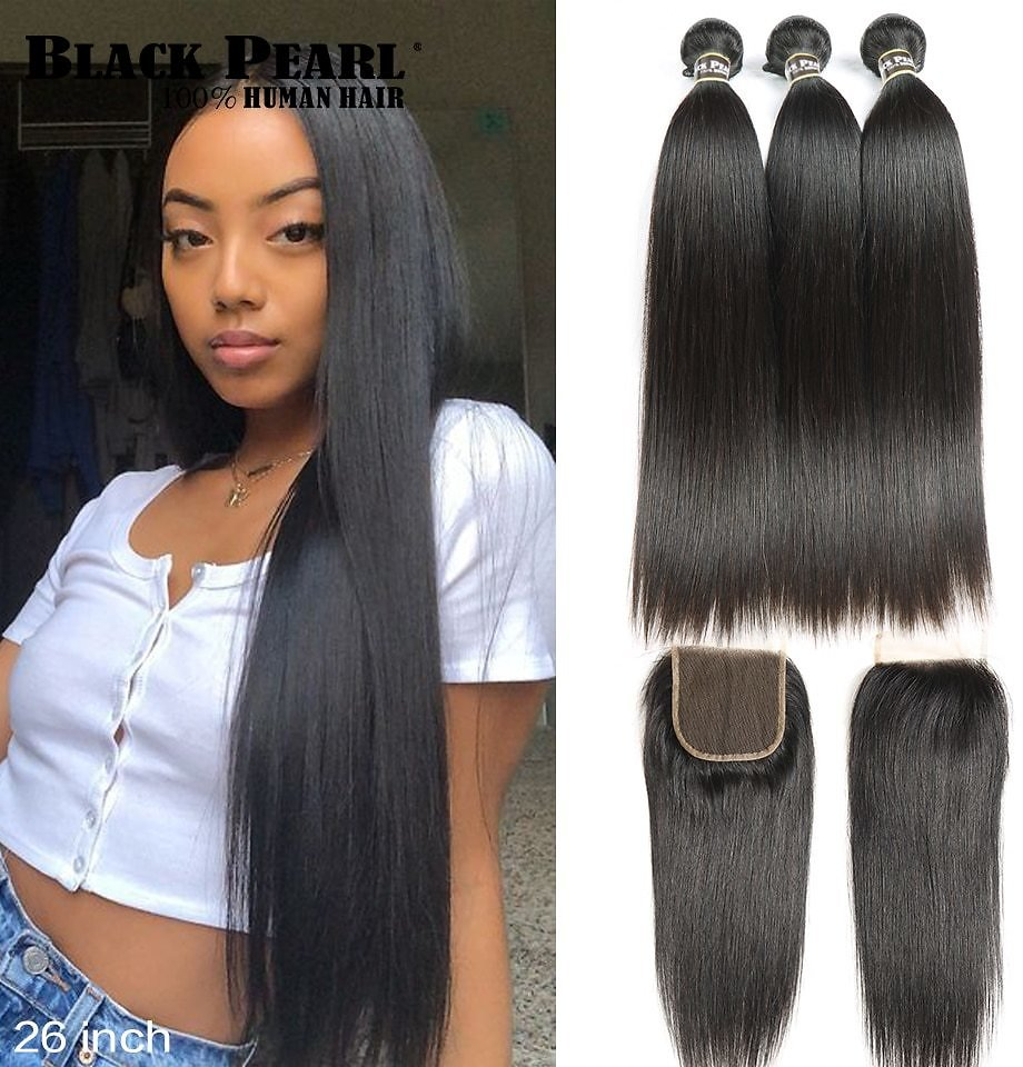 Straight Hair Bundles With Closure Non Remy Human Hair 3 Bundles With Closure Peruvian Hair Bundles With Closure