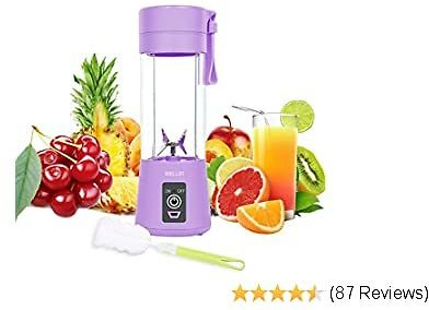 WELLIN Personal Blender, Portable Blender for Smoothies and Shakes Handheld Electric Fruit Mixer Machine Six Blades 380mL USB Rechargeable Ice Mini Juicer Cup Home/Office/School/Outdoors