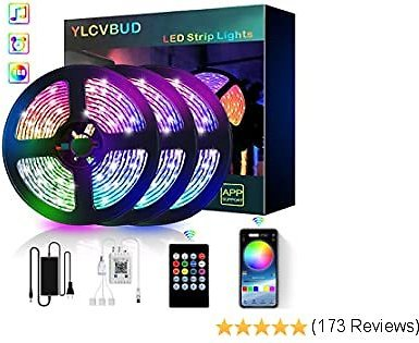 LED Strip Lights, YLCVBUD 39.42FT/12M 5050 RGB 360 SMD Smart Bluetooth Rope Color Changing Lights Music Sync, App Control with 20 Keys Remote for TV,Bedroom,Party and Home Decoration