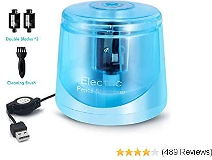 Electric Pencil Sharpener, Small and Portable Pencil Sharpener For NO.2 Pencils and Colored Pencils, Auto Feature and Durable for Classroom, Home and Office, USB Cable Included