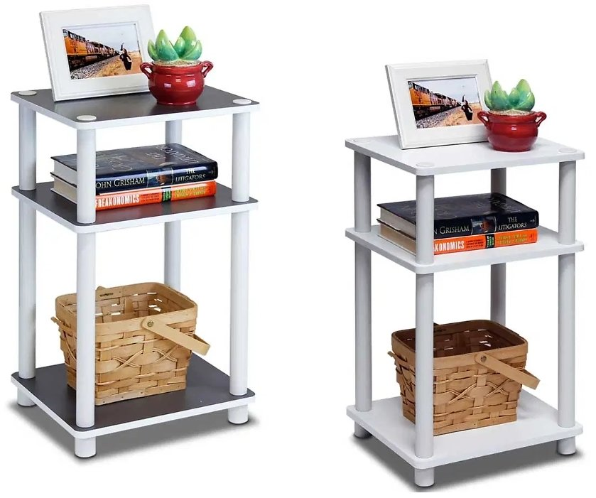 Furinno 2-11087 Just 3-Tier No Tools Tube End Table, White W/White Tube, Set of 2