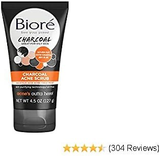 Bioré Charcoal Acne Face Scrub, 4.5 Ounce, with 1% Salicylic Acid and Natural Charcoal, Helps Prevent Breakouts and Absorb Oil for Deep Pore Cleansing