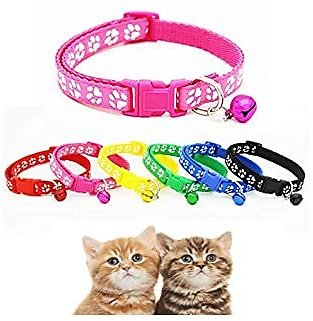 Alexi Pet Collar Dog Cat Footprint Safety Adjustable Nylon Leash Collars with Bell Leashes
