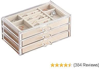 HerFav Jewelry Box for Women with 3 Drawers, Velvet Jewelry Organizer for Earring Bangle Bracelet Necklace and Rings Storage Clear Acrylic Jewelry Case
