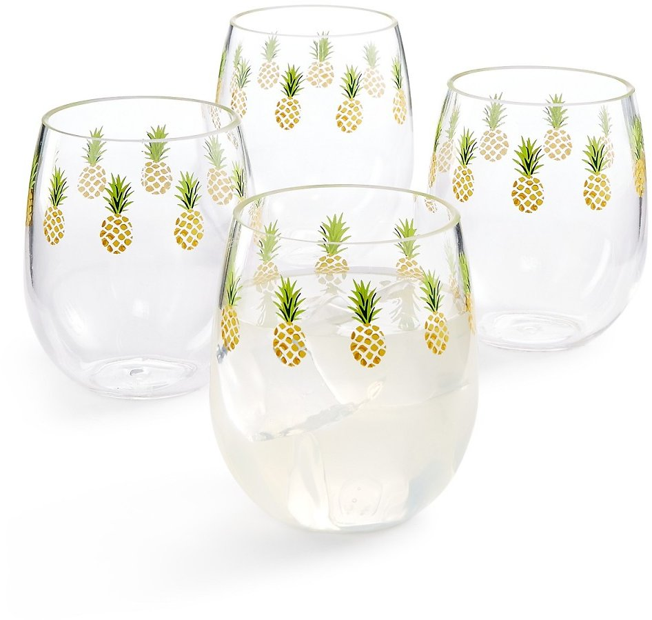Martha Stewart Collection So-Cal Stemless Wine Glasses, Set of 4