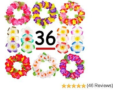 Hawaiian Luau, 36 Pack Flower Headband Lei and Hair Clips Set, Headpiece Hairpins Party Favors For Summer Beach Vacation, Tropical Party Decorations Supplies , Birthday, Wedding And Costume Events