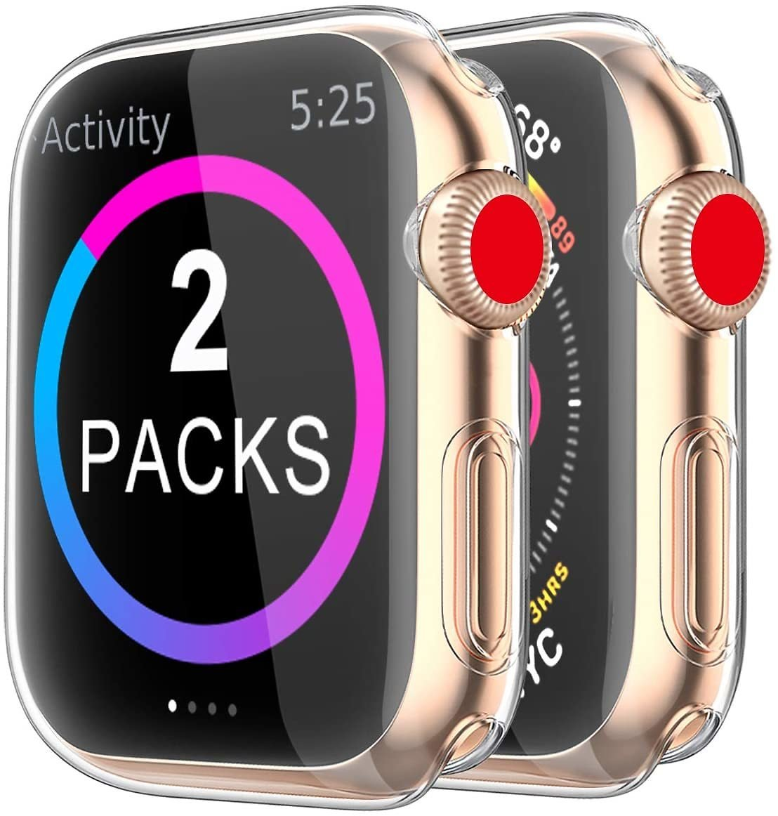 [2 Pack] BRG Case for Apple Watch Screen Protector 40mm 44mm 38mm 42mm, IWatch Series 5 4 3 Soft TPU HD Clear Ultra-Thin Overall Protective Cover Case