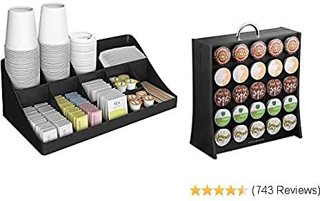 11 Compartment Condiment 50 Capacity K-Cup Single Serve Coffee Pod Holder Storage Organizer, Black, One Size
