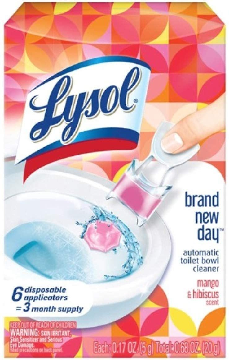 6 Count, Lysol Automatic Toilet Bowl Cleaner, Click Gel, Mango & Hibiscus
