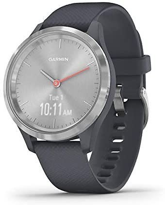 Garmin Vívomove 3S, Hybrid Smartwatch with Real Watch Hands and Hidden Touchscreen Display, Silver with Granite Blue Case and Band