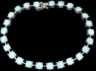Unheated Round Blue Larimar 5mm Natural 925 Sterling Silver Bracelet 7.5 Inches
