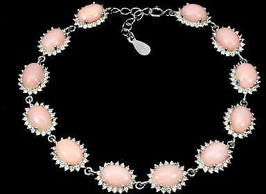 Unheated Oval Pink Opal 8x6mm Natural Cz 925 Sterling Silver Bracelet 7.5 Inches