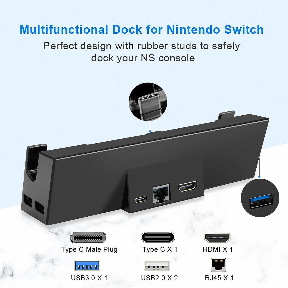 Switch TV Dock, IKITS Switch Docking Station Ethernet LAN Port GameWill Nintendo to HDMI TV Dock Adapter Type C + Extra USB3.0/U