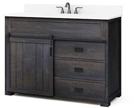 Style Selections Morriston 48-in Distressed Java Single Sink Bathroom Vanity with White Engineered Stone Top Lowes.com