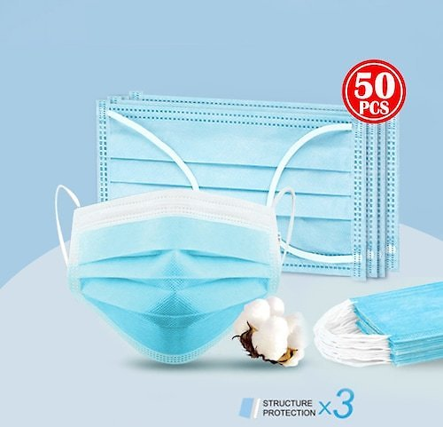 50PCS Disposable Mouth Mask 3Ply Dust Nonwoven Elastic Earloop Mouth Face Masks