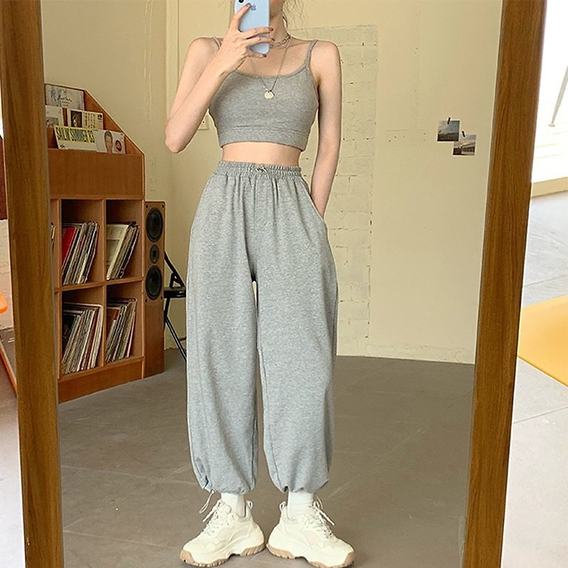 US $18.19 79% OFF|Sweat Pants Korean Style Loose Jogging Sweatpants Women 's Grey High Waist Joggers Pants 2020 New Harun Trousers Casual Fashion|Pants & Capris| - AliExpress