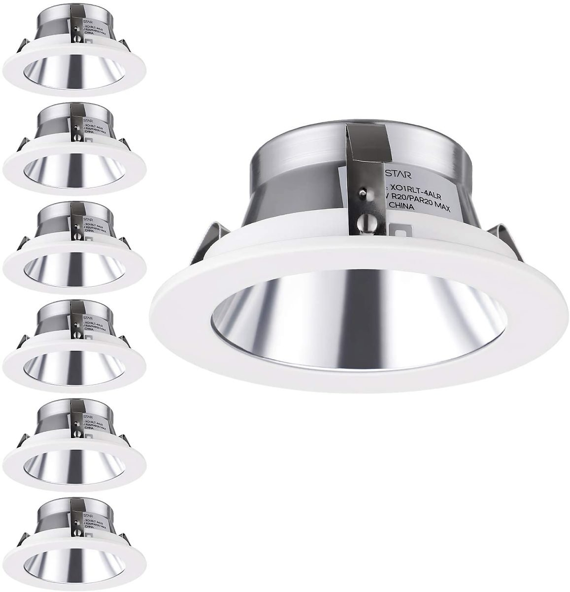 TORCHSTAR 4 Inch Light Trim with Aluminum Reflector White Metal Step Baffle, for 4 Inch Recessed Can, Fit Halo/Juno Remodel Recessed Housing, Line Voltage Available, Pack of 6