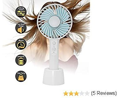 TOA Hand Held Fan,Mini Electric Portable Foldable Desktop Table Desk Cooling Fan, 3 Speeds USB Rechargeable Battery Operated Hand Fan with Metal Hook for Home Office Outdoor Travel-Black