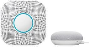 Google Nest Protect Battery Smoke and Carbon Monoxide Detector with Google Home Mini Chalk-VBT2BMINICK2019