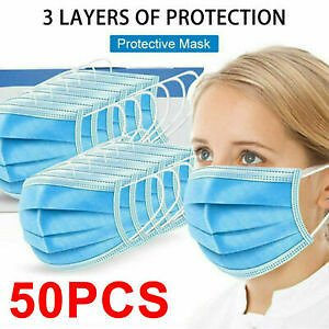 50 PACK Disposable Face Mask Medical Surgical Dental 3-Ply Earloop Mouth Cover