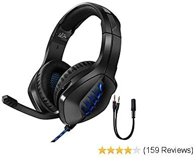 Tyuobox Gaming Headset for PS4, PC, Xbox One Controller, Noise Cancelling Over Ear Headphones with Mic, LED Light, Bass Surround, Soft Earmuffs for Laptop Mac Nintendo Switch Games