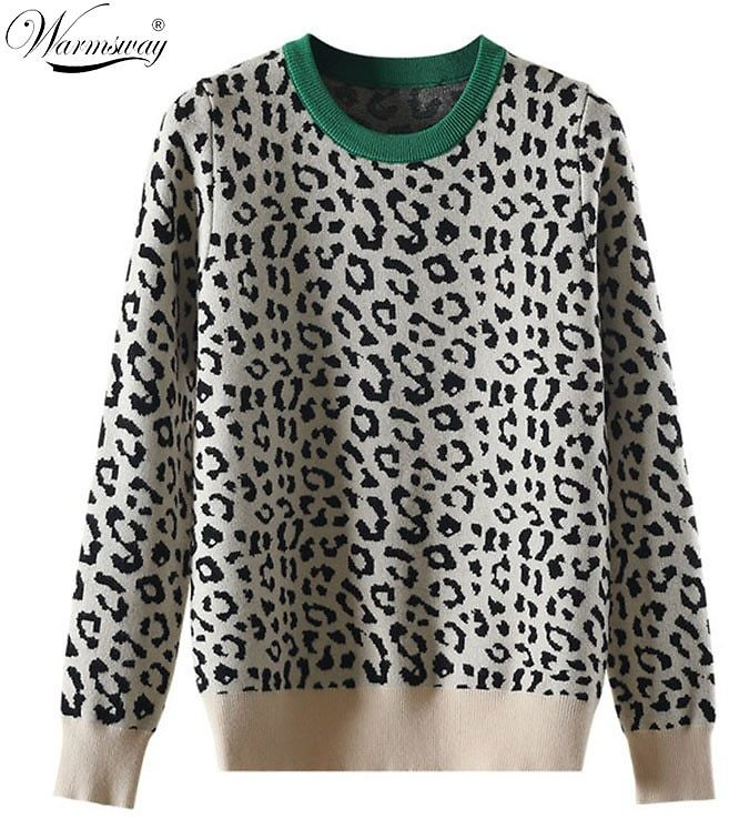 US $19.7 72% OFF Autumn Winter Women Sweaters Leopard Knitted Pullovers Long Sleeve Contrast Color Crewneck Jumpers Sweter Mujer C 429 Pullovers  - AliExpress