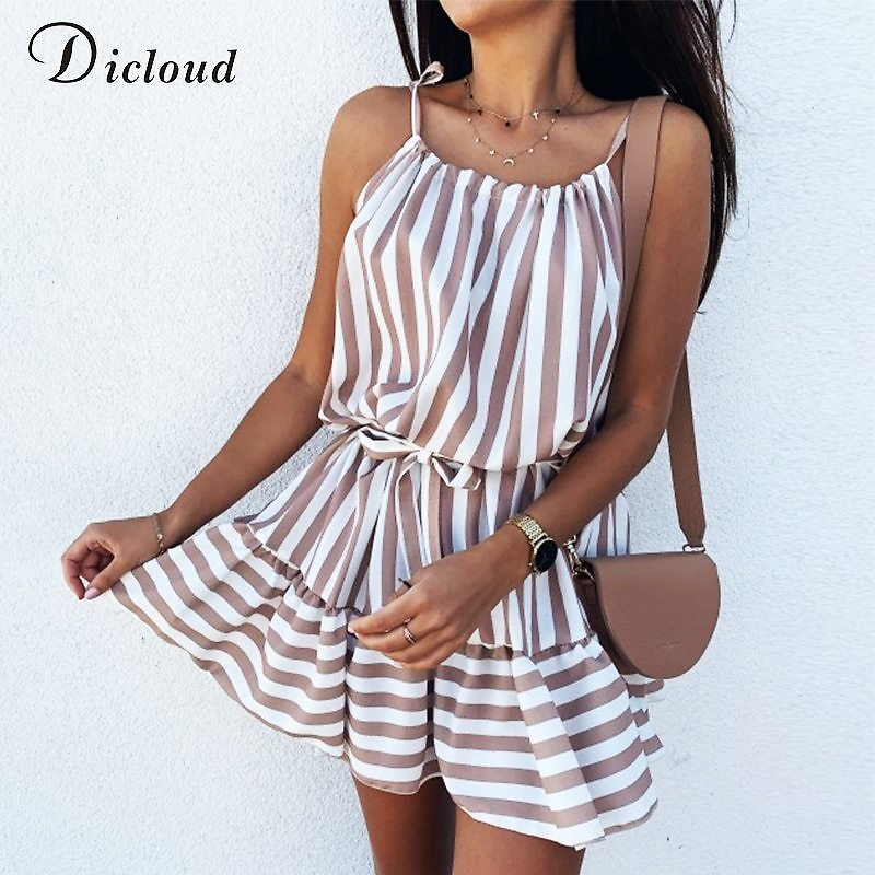 US $12.95 52% OFF|DICLOUD Casual Strip Mini Dress Women Summer Spaghetti Strap Beach Holiday Day Dress With Tie Ruffle Elegant Ladies Clothes 2020|Dresses| - AliExpress