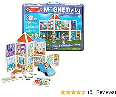 Melissa & Doug Magnetivity Magnetic Building Play Set – Our House with Vehicle (100Piece)
