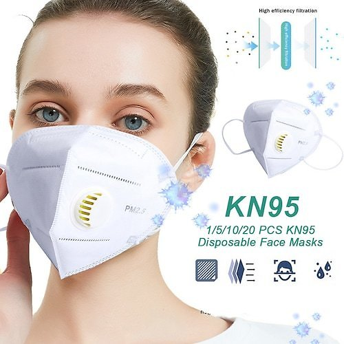KN95 Adults Face Masks with Air Valve 5-Layers Mask Non-medical Anti-PM2.5 Anti-Dust Folding Mask