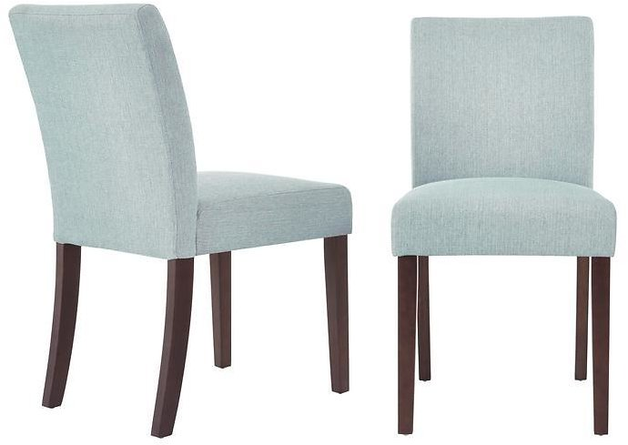 StyleWell Banford Sable Brown Wood Upholstered Dining Chair with Back and Charleston Teal Seat (Set of 2) (17.9in. W X 34.44in. H)-Lowe DC SC