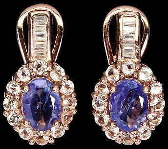 Unheated Oval Blue Tanzanite 7x5mm Morganite Cz 925 Sterling Silver Earrings
