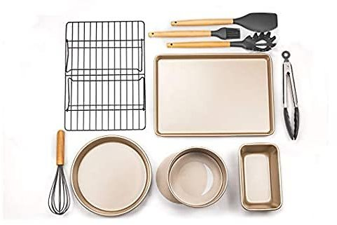 Baking Pan Set Nonstick Oven Bakeware and Kitchen Silicone Cooking Utensil Set Include Rose Gold Pizza Tray Cake Baking Pans Cookie Sheet Cooling Racks Baking Perfect 10pcsBaking Gift Set for Family