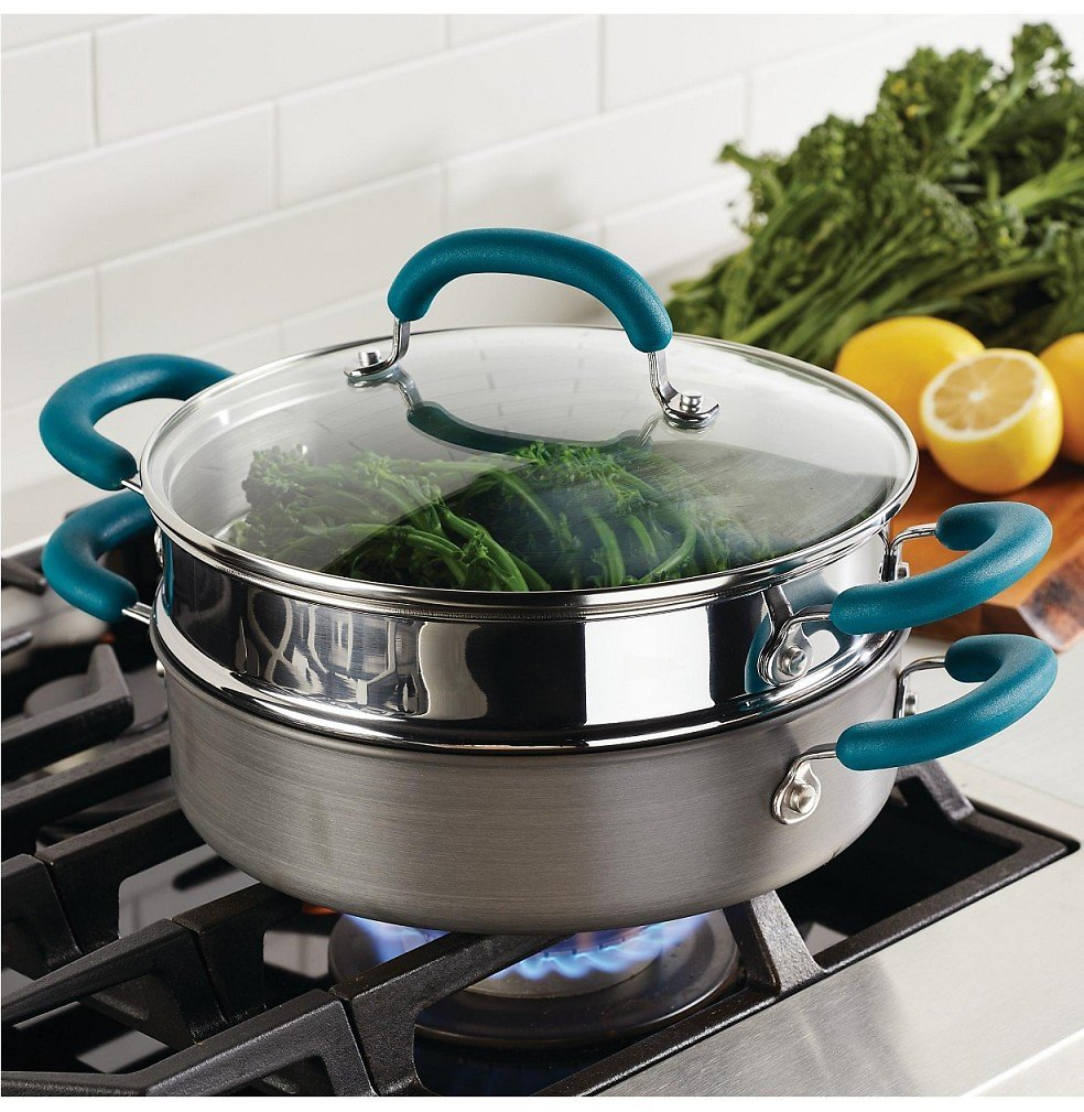 Rachel Ray 3-Qt Nonstick Steam Set (Gray With Teal Handles) + F/S