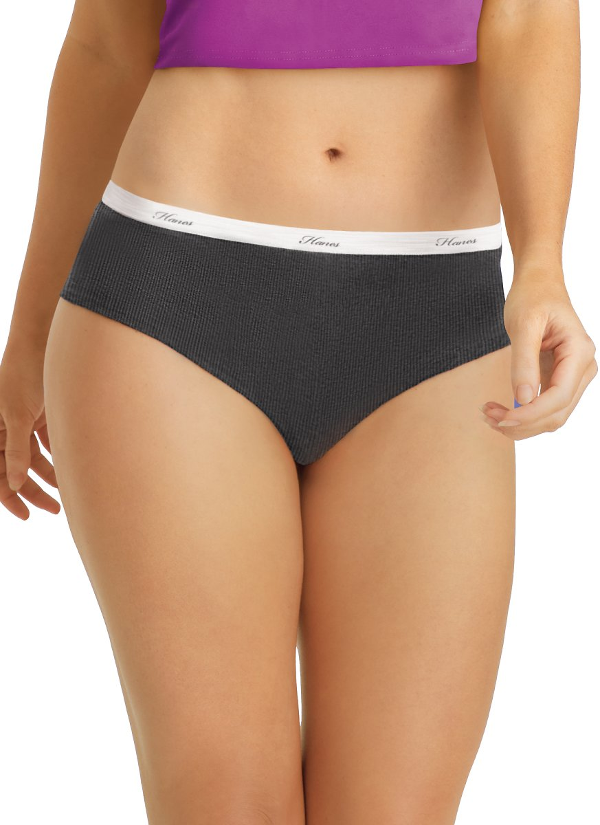 Hanes - Hanes Women's Ribbed Cotton Hipster Underwear, 6-Pack