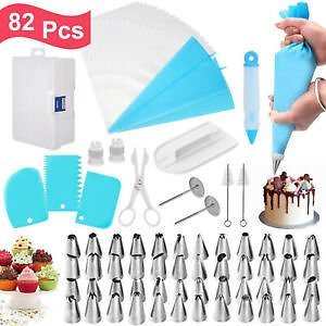 82 Pcs Baking Supplies Kit DIY Cake Cupcake Decorating Icing Tips Set Tools US