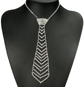 White Crystal Drop Rhinestone Neck Tie Women Necklace ChainJewelryfromJewelry,Watches & Accessorieson Banggood.com
