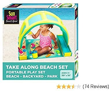 SunSmart Kiddie Activity Play Set, Beach Sand Toy Playset with Eight (8) Toys, Pop-Up Tent for Toddlers, Take-Along Beach Sand Play Kit with Canopy