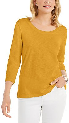 Style & Co 3/4-Sleeve Scoop-Neck Top, Created for Macy's & Reviews - Tops - Women