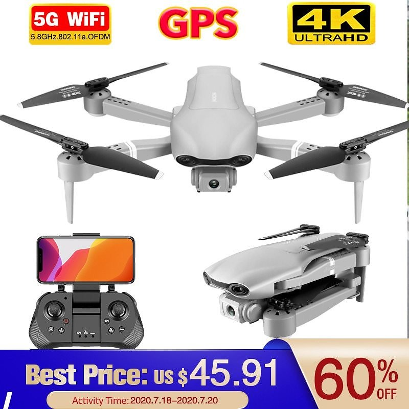 60% OFF $50.5 Drone GPS 4K 5G WiFi Live Video FPV 4K/1080P HD Wide Angle Camera Foldable Altitude Hold Durable RC Drone
