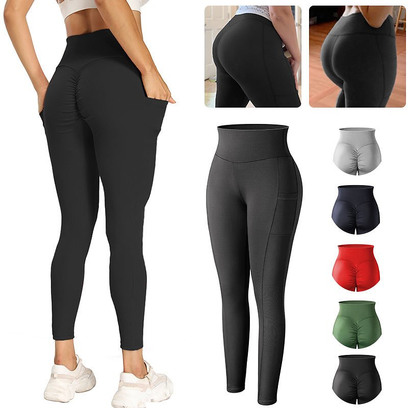 US $10.13 40% OFF|High Waist With Pocket Leggings Ruched Butt Lifting Workout Leggins Women Perfect Fit Fitness Legging No See Through Pencil Pant|Leggings| - AliExpress