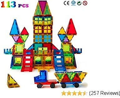 Magblock 113 PCS Magnetic Blocks, Magnetic Tiles Building Blocks for Kids Toys丨Magnet Toys Set 3D Building Blocks for Toddler Boys and Girls